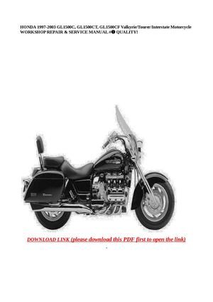 The honda valkyrie pages 2: 1997 honda valkyrie 1500c-ct owners manual.