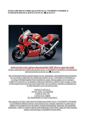 Calaméo - HONDA 2000-2002 RVT1000R (aka HONDA RC51 ... on