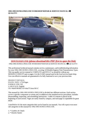 calam o 1992 1993 honda prelude workshop repair service manual rh calameo com 1998 Honda Prelude 1993 honda prelude owners manual
