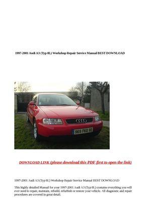 calam o 1997 2001 audi a3 typ 8l workshop repair service manu rh calameo com Audi A3 Manual Transmission Audi A3 TDI
