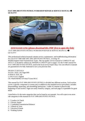 calam o fiat 1999 2003 punto petrol workshop repair service rh calameo com Fiat Stilo Schumacher Fiat Stilo Interor