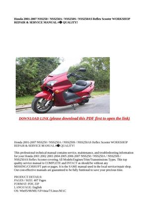 calam o honda 2001 2007 nss250 nss250a nss250s nss250as ref rh calameo com Honda TLR200 2007 Honda NSS250