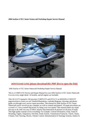 calam o 2006 seadoo 4 tec series watercraft workshop repair rh calameo com seadoo manuals 2008 seadoo manuals 2004