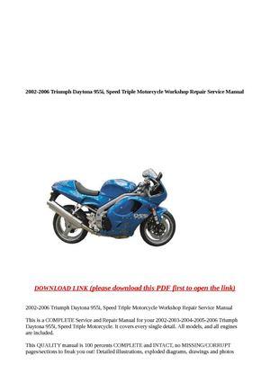 2002 triumph daytona 955i speed triple service repair manual download