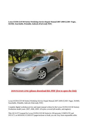calam o lexus es350 gsv40 series workshop service repair manual 2 rh calameo com 2007 lexus es 350 service manual download 2007 lexus es 350 service manual pdf
