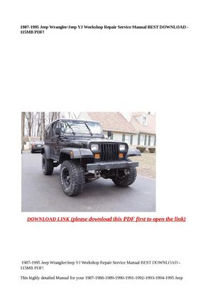 calam o 1987 1995 jeep wrangler jeep yj workshop repair service rh calameo com 88 YJ Interior 88 YJ 3 in Lift