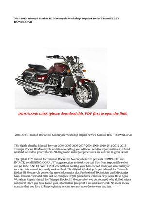 2004-2013 triumph rocket iii motorcycle workshop repair