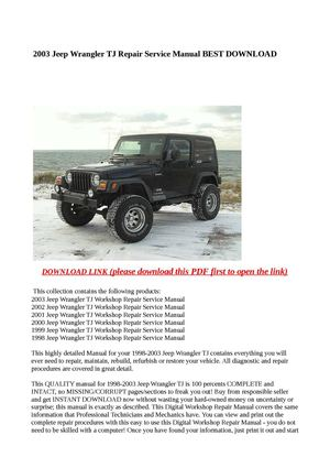 calam o 2003 jeep wrangler tj repair service manual best download rh calameo com 1998 jeep wrangler service manual free download 1998 jeep wrangler service manual free download