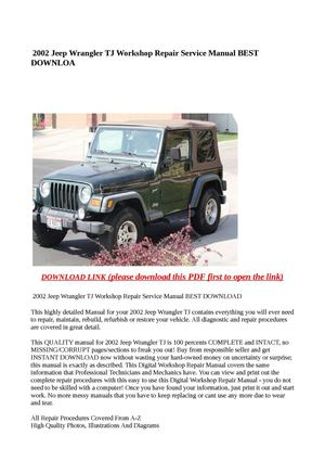 calam o 2002 jeep wrangler tj workshop repair service manual best rh calameo com 2002 Jeep Wrangler X 2002 jeep wrangler parts manual