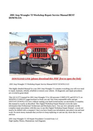 jeep wrangler service manual download