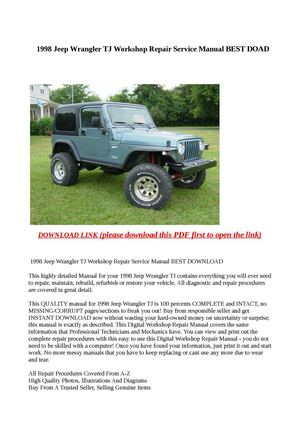 calam o 1998 jeep wrangler tj workshop repair service manual best doad rh calameo com 1998 Jeep Wrangler Custom 1998 Jeep Wrangler Accessories