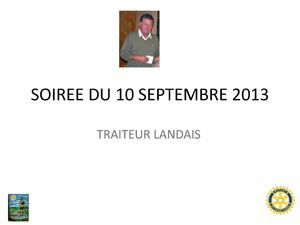 SOIREE DU 10 SEPTEMBRE 2013