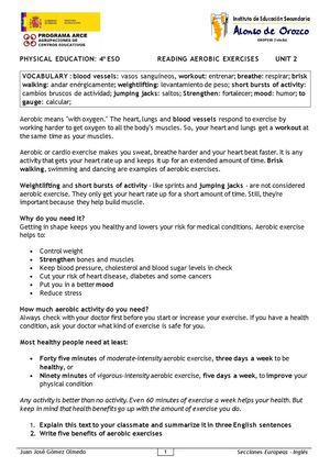 Calamo Physical Education 4 Eso Reading Aerobic Exercises
