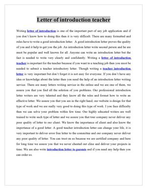 Calamo letter of introduction teacher altavistaventures Gallery