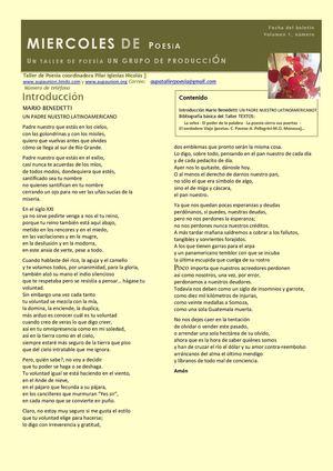 BOLETÍN MIÉRCOLES DE POESÍA N 1 OCTUBRE 2013