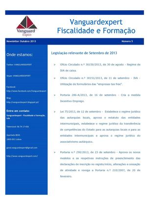 Vanguardexpert - Newsletter Outubro 2013