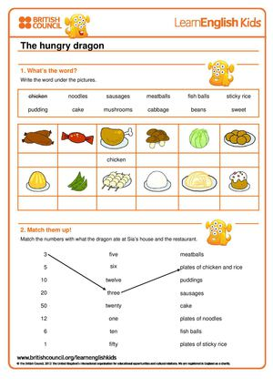 The Hungry Dragon Worksheet