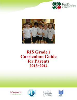 Parent Curriculum Guide 2013-2014 Grade 2