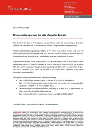 Finmeccanica approves the sale of Ansaldo Energia