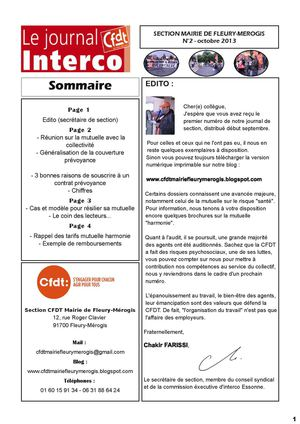Journal n°2 de la Section CFDT Mairie de Fleury-Mérogis