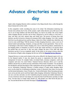 Advance directories now a day