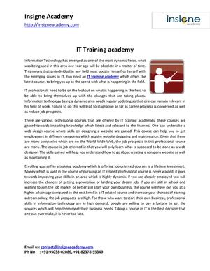 IT Training academy for bright career in IT