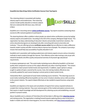 Easyskillz.Com Now Brings Online Certification Courses From Top Experts