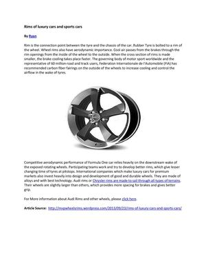 Rims of luxury cars and sports cars