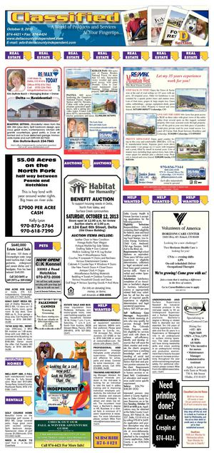 Delta County Independent classifieds, Oct. 9, 2013