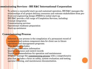 Commissioning Services - IHI E&C International Corporation