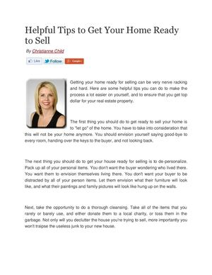 Helpful Tips to Get Your Home Ready to Sell