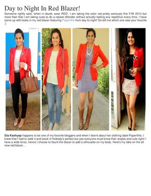 Lifestyle Bloggers India - Day to Night In Red Blazer! - More Info Go To Site: http://www.guiltybytes.com