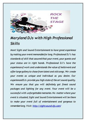 Maryland DJs with High Professional Skills
