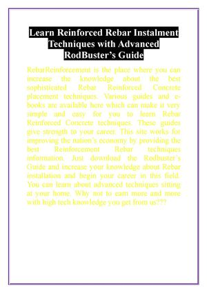 Learn Reinforced Rebar Installment Techniques with Advanced RodBuster's Guide