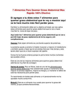 Calaméo 7 Alimentos Para Quemar Grasa Abdominal Mas Rapido 100 Efectivo