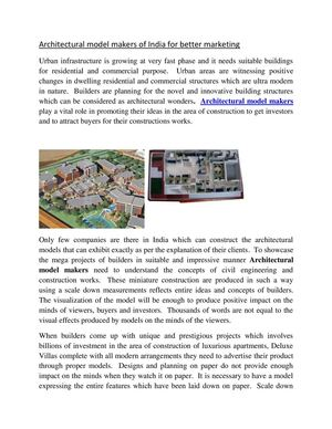 Architectural model makers- Precise Engineering Bangalore, India