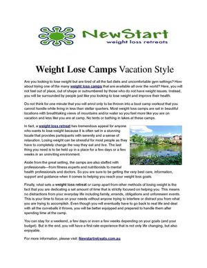 Weight Lose Camps Vacation Style