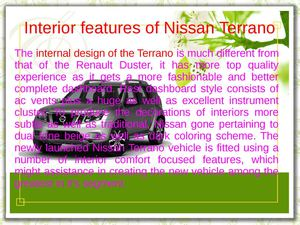 Interior features of Nissan Terrano