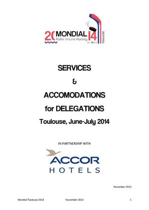 SERVICES & ACCOMODATIONS for DELEGATIONS