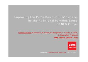 Improving the pump down of UHV systems