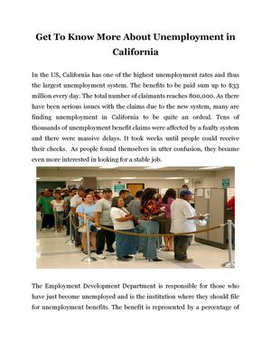 Get To Know More About Unemployment in California