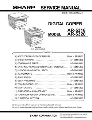 calam o service manual sharp ar 5316 5320 sme rh calameo com Sharp Copier Products Sharp Copiers and Printers