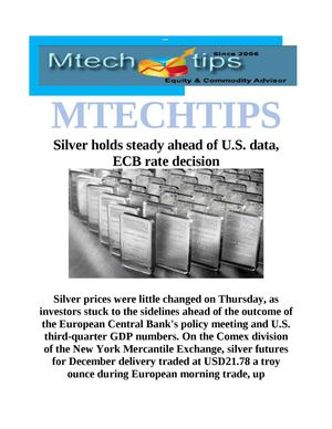 MTECHTIPS;-Silver holds steady ahead of U.S. data, ECB rate decision