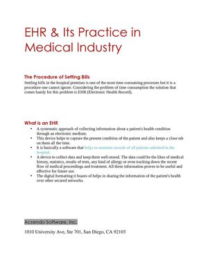 EHR & Its Practice In Medical Industry