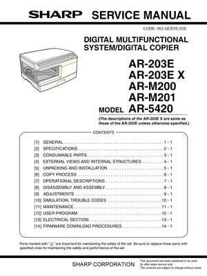 calam o service manual sharp ar m200 m201 m203e ar5420 sme rh calameo com Sharp AR M317 Manual Sharp Microwave User Manuals