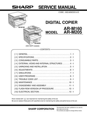 calam o service manual sharp ar m160 m205 m206 m207 sme rh calameo com Sharp AR M237 Toner Sharp AR- M355N