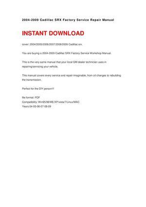 calam o 2004 2009 cadillac srx repair manual rh calameo com 2004 Cadillac SRX Manual Interior 2004 cadillac srx repair manual pdf