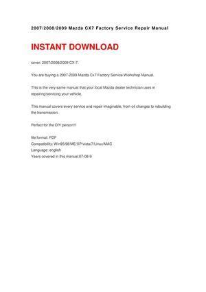 mazda cx 7 manual 2008
