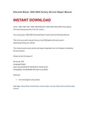 calam o chevolet blazer 1995 2005 repair manual rh calameo com 2002 chevrolet blazer repair manual pdf 2002 chevy blazer parts manual