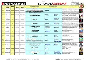 The Africa Report - Editorial calendar 2009